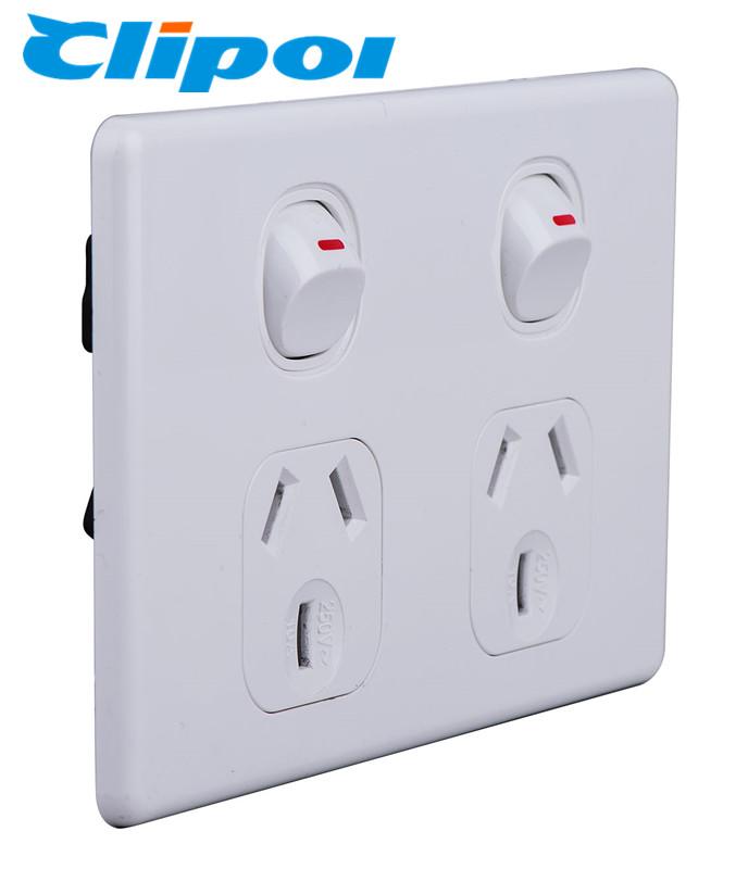 Australia standard  250V 10A Double GPO Slimline power points socket