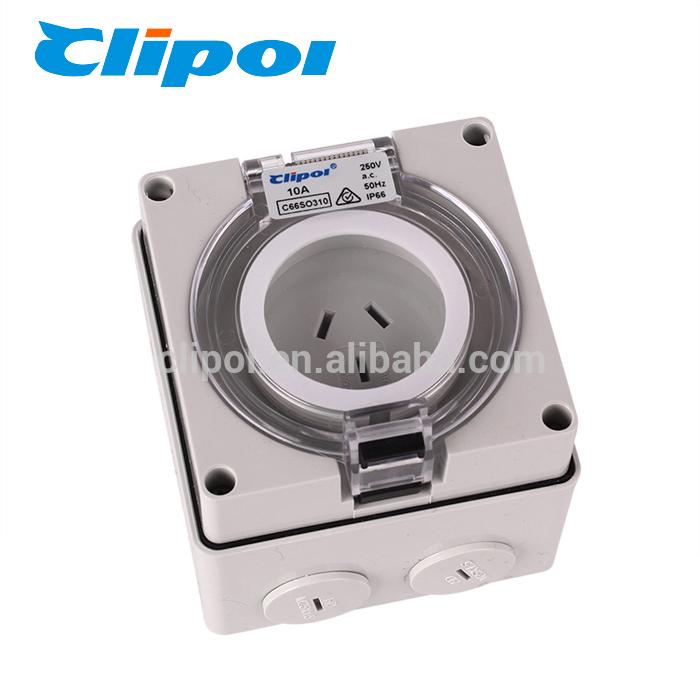 Fire proof socket UV resistance 3 pin 10 amp waterproof multiple socket outlet