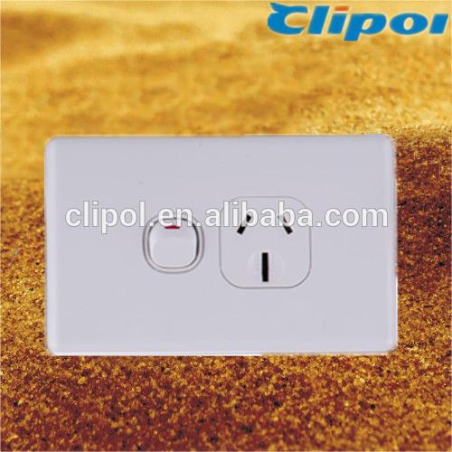Slimline white 250V 15A single powerpoints Clipol