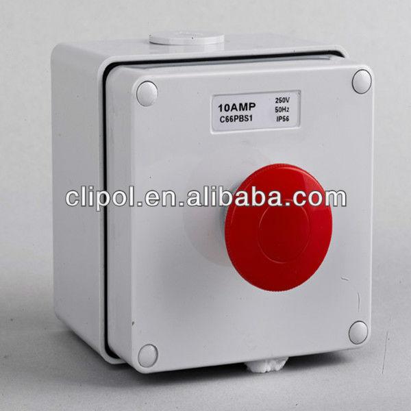 IP66 250V 10A بيړنۍ Stop د کنټرول مرکز ونجول خړ